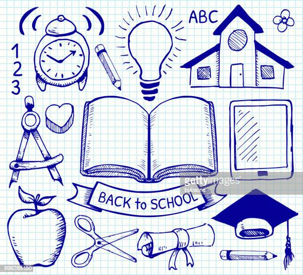 Education Back to School Vector Hand Drawings on Graph Paper