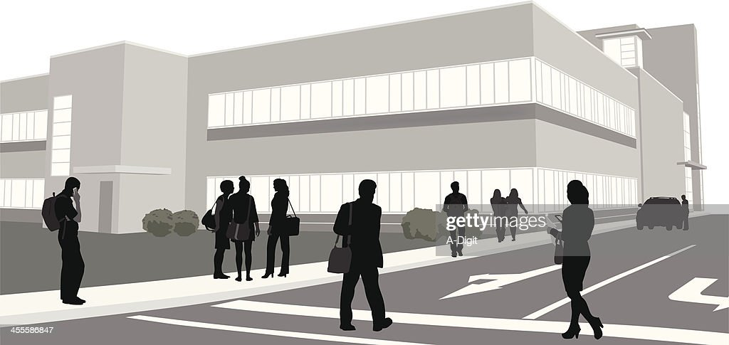 Education Building Vector Silhouette