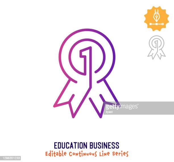 教育事業連続線編集可能ストロークアイコン - 証書点のイラスト素材/クリップアート素材/マンガ素材/アイコン素材