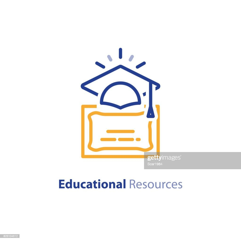 Education certificate, learning courses, graduation hat line icon