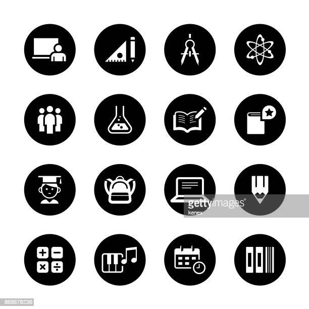 Education Circle Icons Set