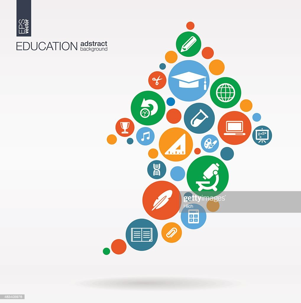 Education color icons in arrow shape abstract background: vector illustration.