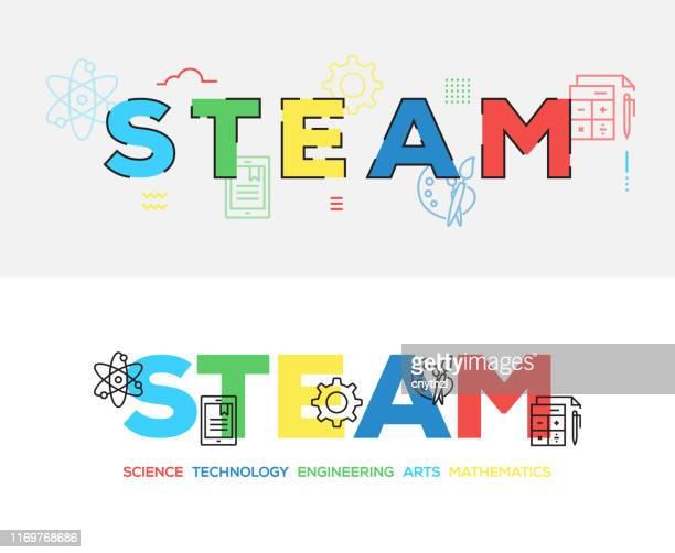 ilustrações, clipart, desenhos animados e ícones de projeto da bandeira do conceito da educação do vapor - vapor forma da água