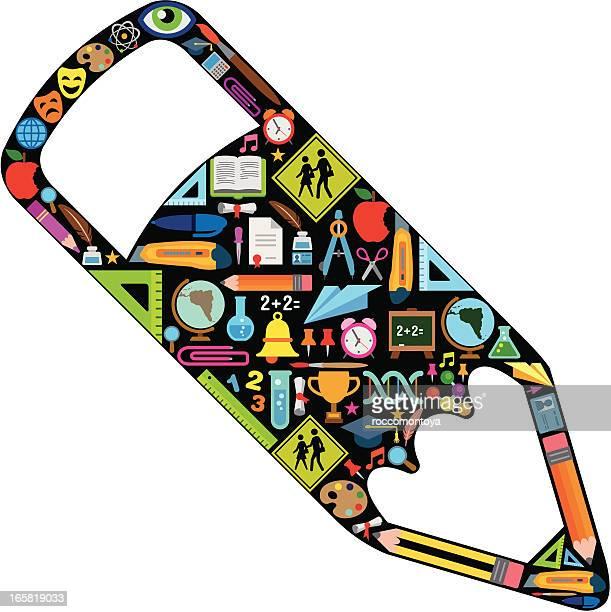 ilustraciones, imágenes clip art, dibujos animados e iconos de stock de concepto de educación, de color - edificio de escuela primaria