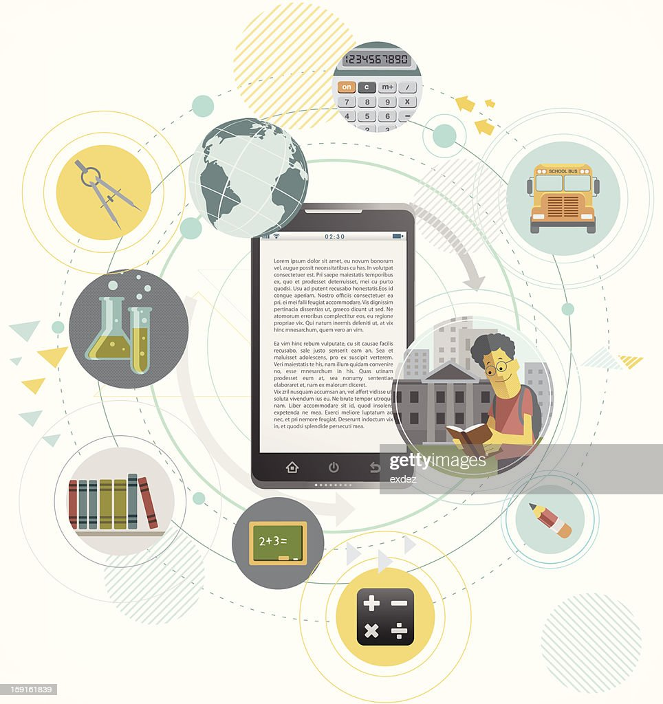 education concept design on smartphone : Vector Art