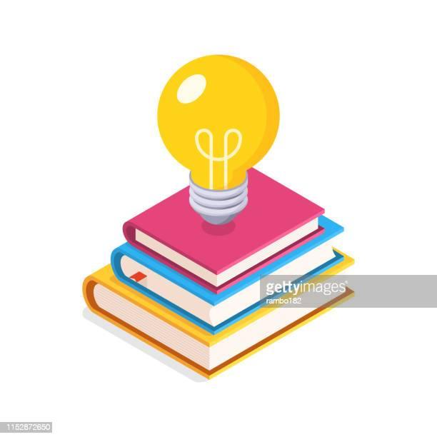 ilustrações de stock, clip art, desenhos animados e ícones de education concept. flat, isometric illustration with lightbulb and stack of books. - perícia
