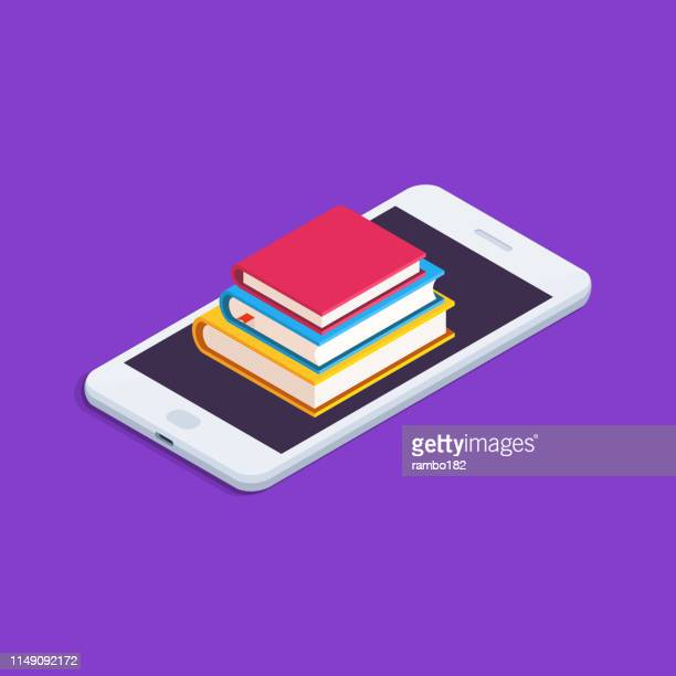 bildungskonzept. wohnung, isometrische illustration mit smartphone und buchstapel. - literatur stock-grafiken, -clipart, -cartoons und -symbole
