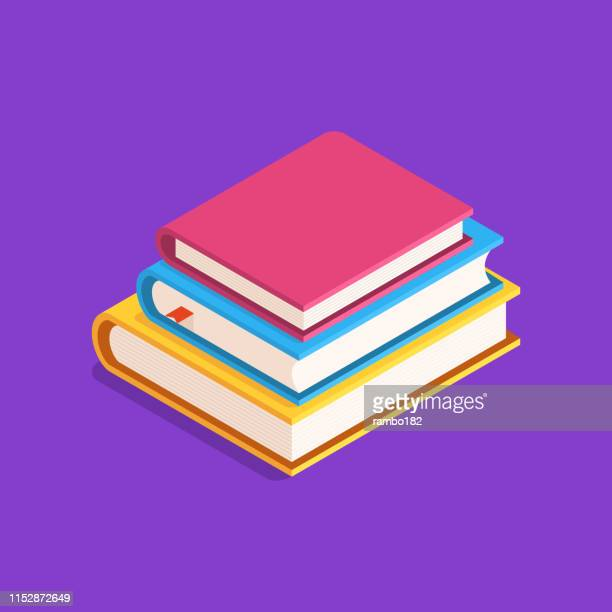 ilustrações, clipart, desenhos animados e ícones de conceito da instrução. ilustração lisa, isométrica com a pilha de livros. - livraria