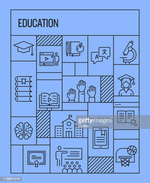 education concept. geometric retro style banner and poster concept with education line icons - human back stock illustrations