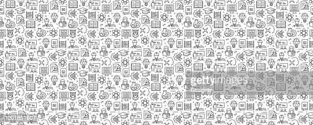 stem 教育コンセプトシームレスパターンと背景とラインアイコン - stem教育点のイラスト素材/クリップアート素材/マンガ素材/アイコン素材