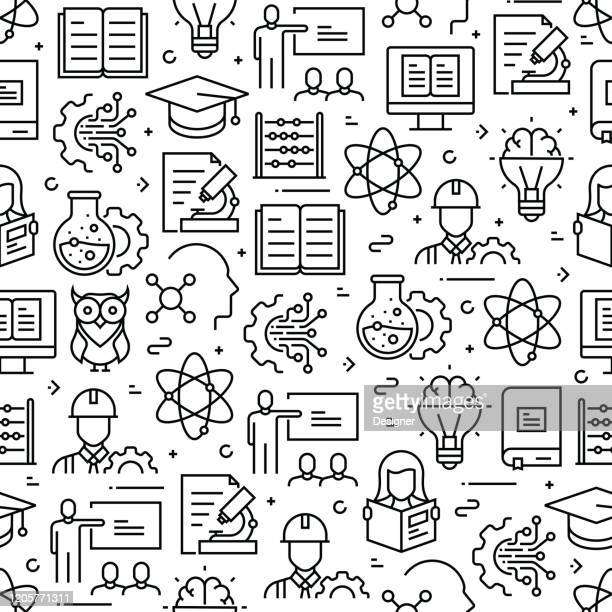 stem education concept seamless pattern and background with line icons - stem topic stock illustrations
