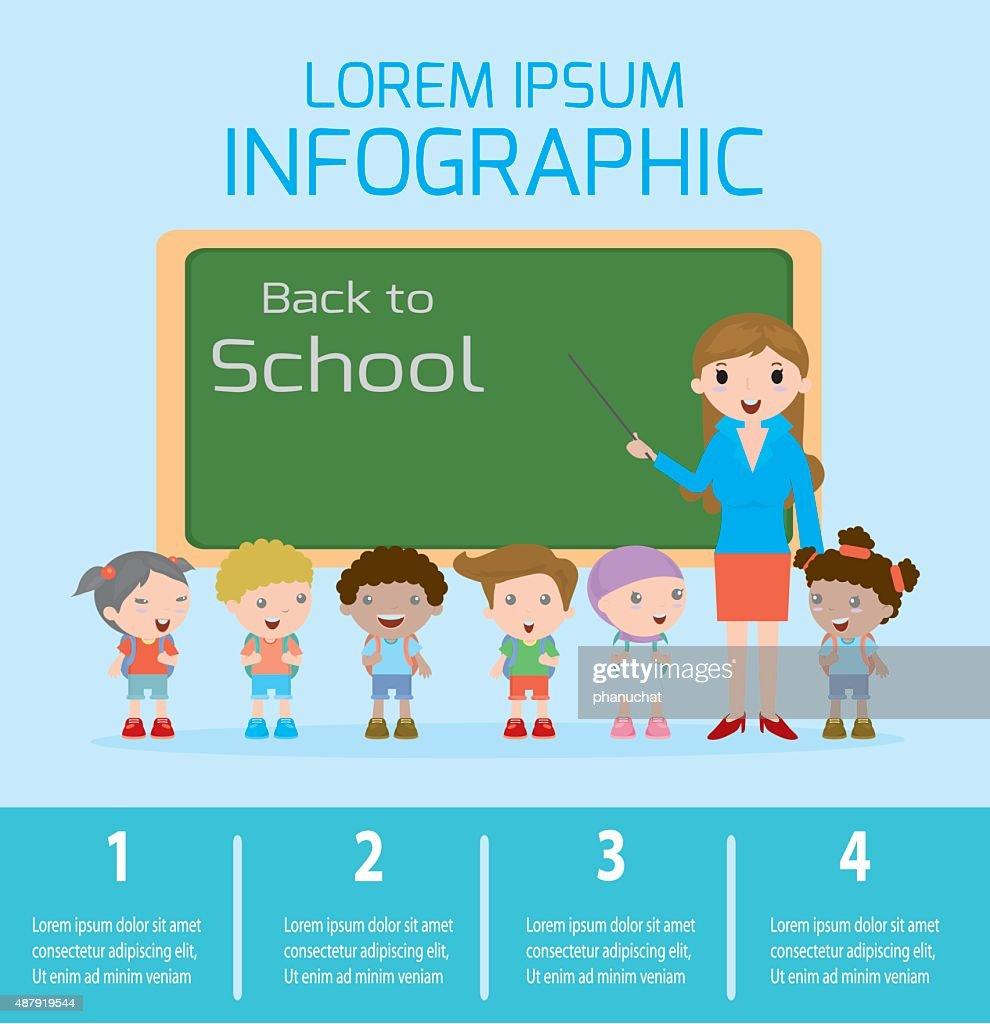 Education concept , Teacher and school kids