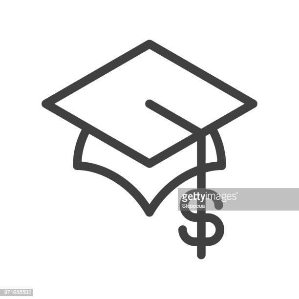 ilustraciones, imágenes clip art, dibujos animados e iconos de stock de icono de línea de costo de educación - birrete
