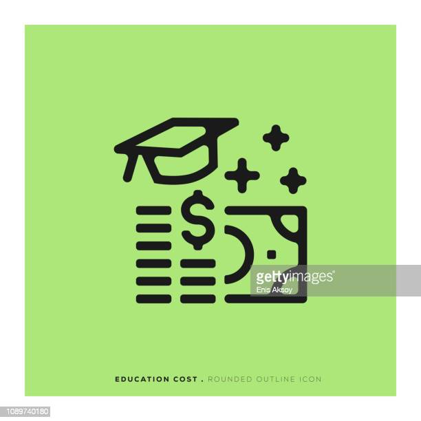 education cost rounded line icon - debt stock illustrations