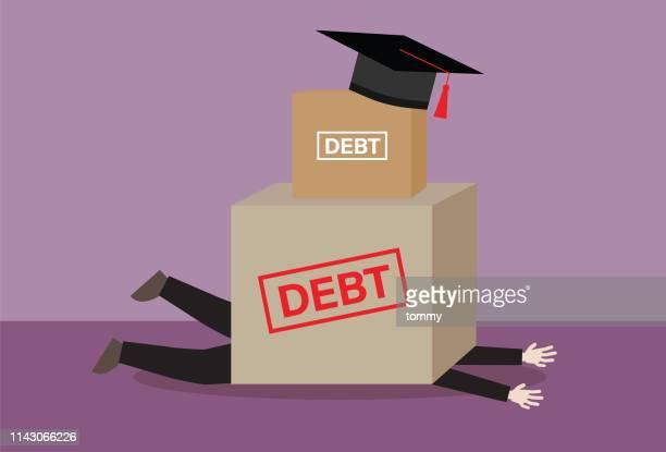 education debt burden - illustration - debt stock illustrations