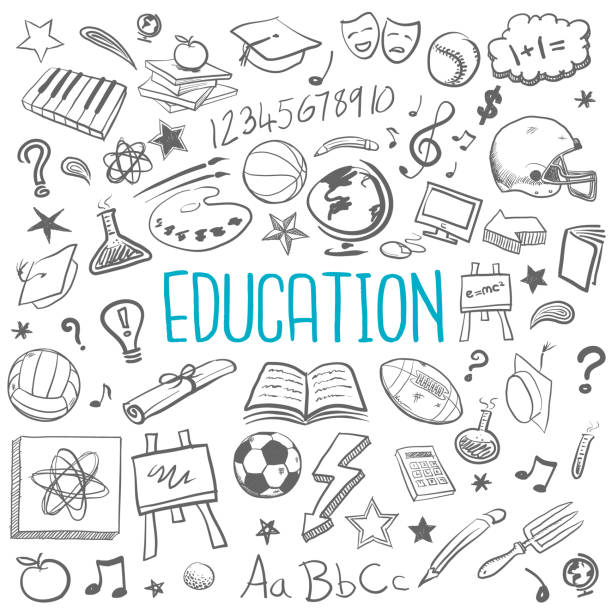 education doodle icons - pencil drawing stock illustrations