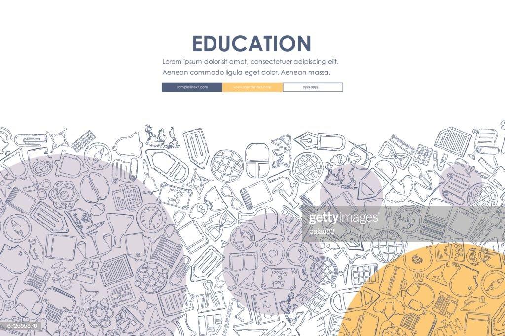 education Doodle Website Template Design
