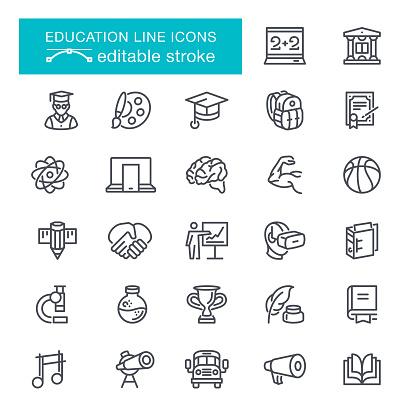 Education Editable Stroke Icons - gettyimageskorea