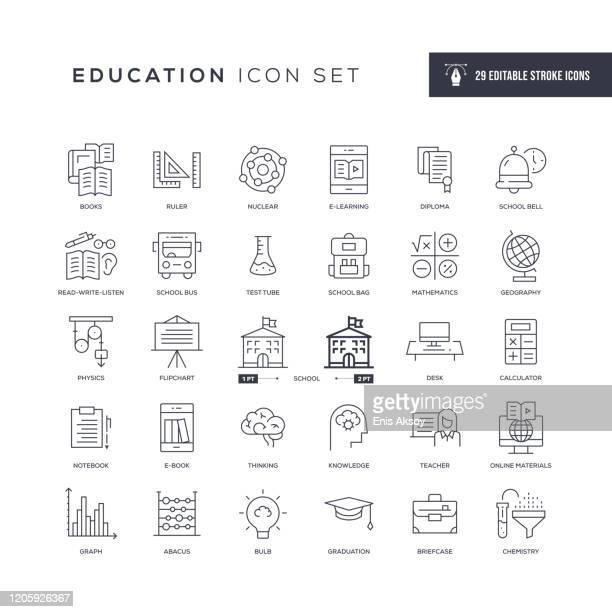 education editable stroke line icons - education stock illustrations