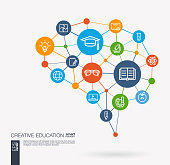 Education, elearning, graduation and school integrated business vector line icon set. Digital mesh smart brain idea. Futuristic interact neural network grid connect.