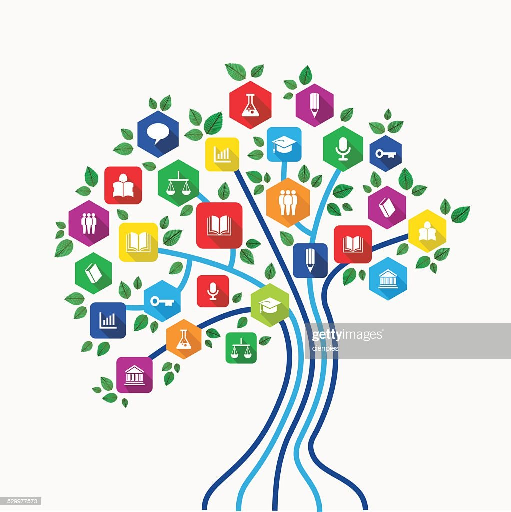 Education e-learning technology concept tree with icons set
