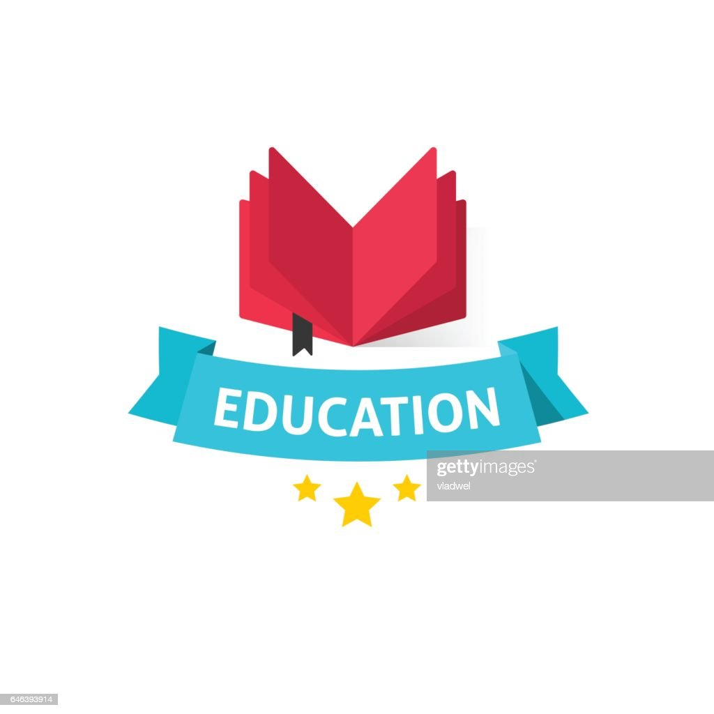 Education emblem vector illustration, open book with education text on blue ribbon