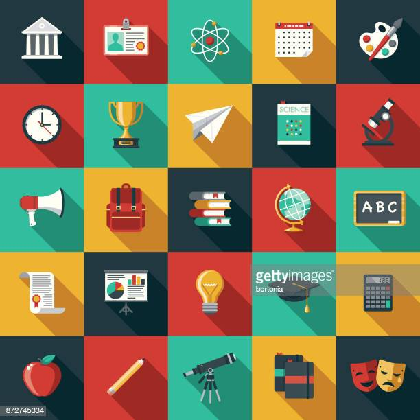 education flat design icon set with side shadow - learning stock illustrations