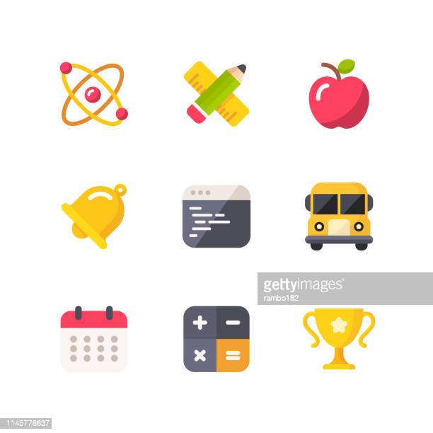 education flat icons.pixel perfect. for mobile and web. contains such icons as atom, apple, programming, school bus, trophy cup. - bell stock illustrations