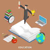 Education flat isometric low poly vector concept