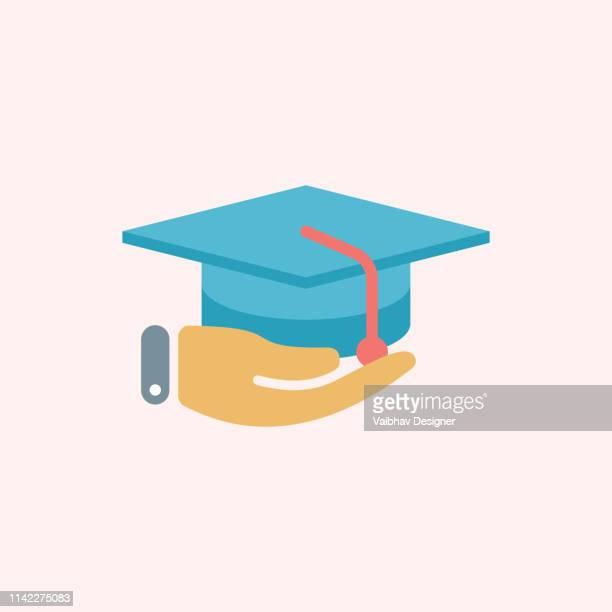 education for all, graduation hat and diploma - illustration - alumni stock illustrations