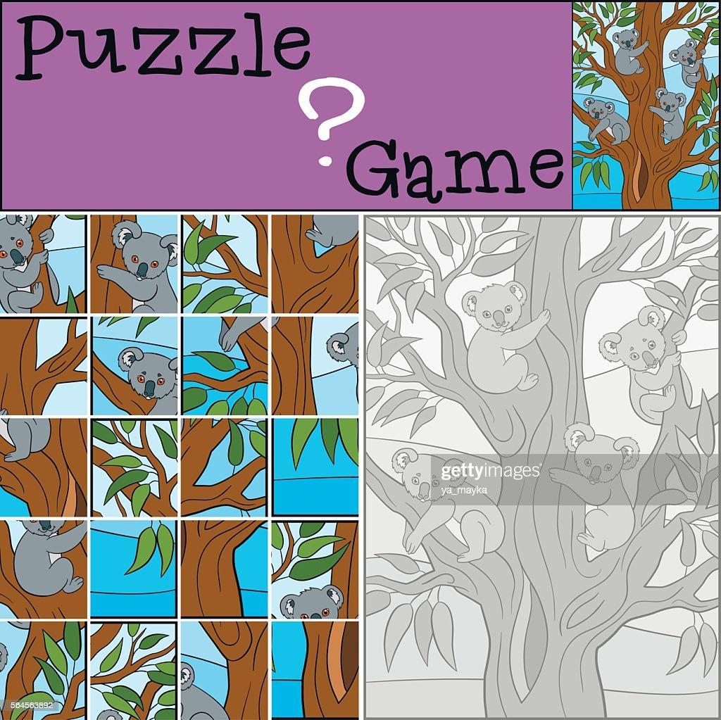 Education game: Puzzle. Four little cute koala babies.
