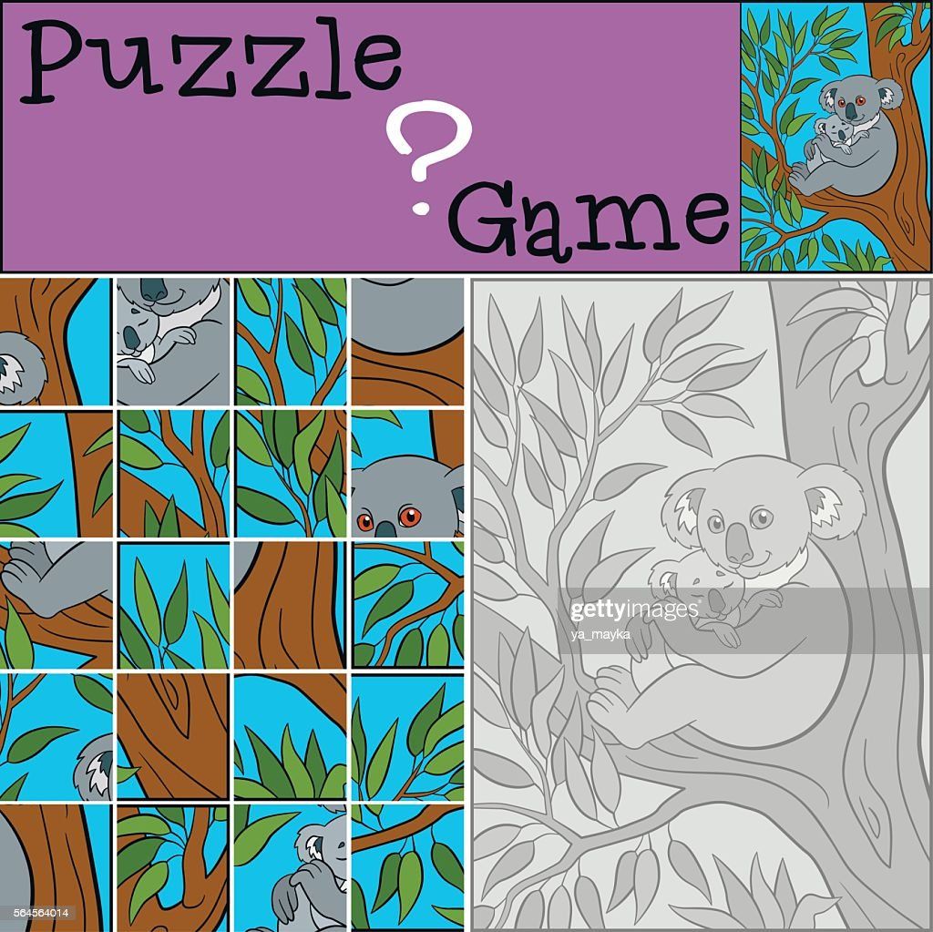 Education game: Puzzle. Mother koala with her little cute baby.