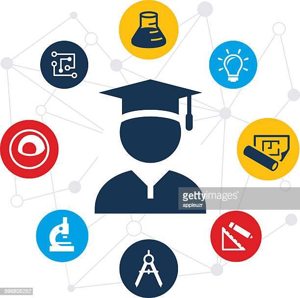 stem education graduate illustration - stem topic stock illustrations