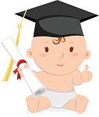 Education graduation baby girl. Baby graduation.