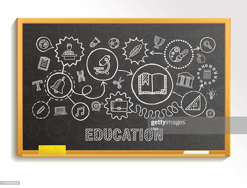 Education hand draw integrated icons set on school board.