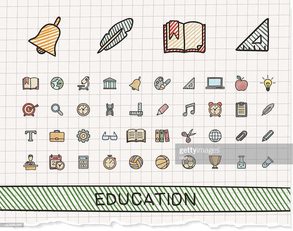 Education hand drawing line icons. Vector doodle pictogram set