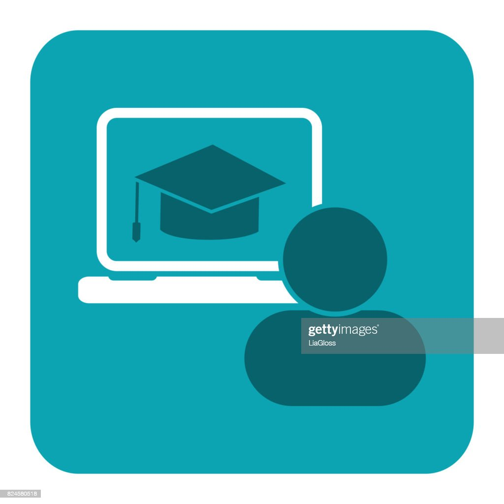 Education icon. Flat vector illustration for e-learning and online education.
