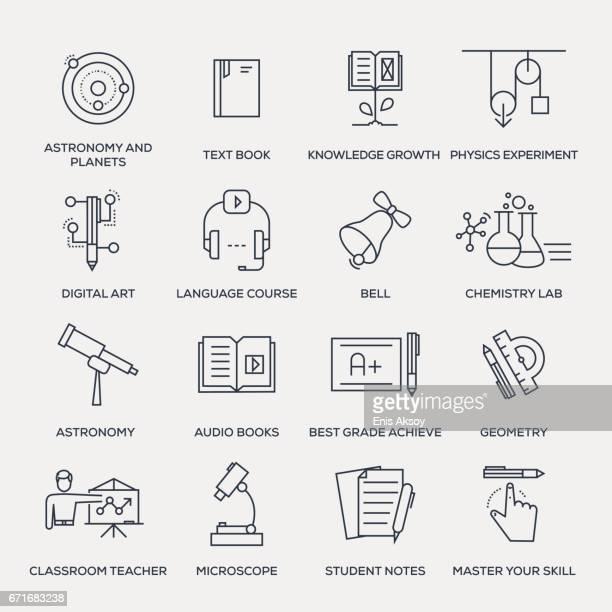 教育のアイコンセットラインシリーズ