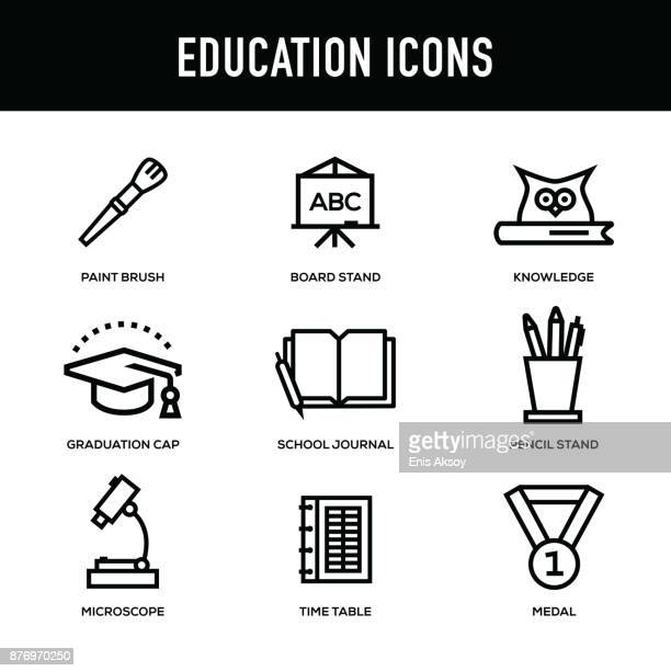 education icon set - thick line series - owl stock illustrations