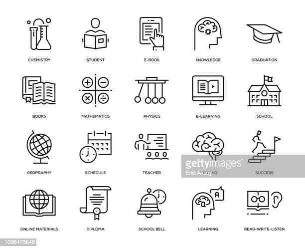 education icon set - cartography stock illustrations