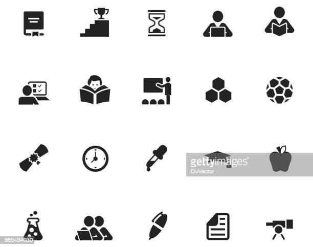 教育のアイコンセット - 固体点のイラスト素材/クリップアート素材/マンガ素材/アイコン素材