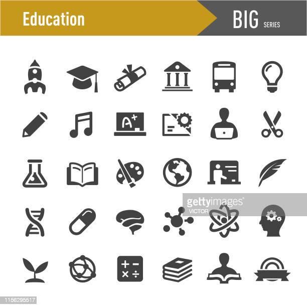 stockillustraties, clipart, cartoons en iconen met onderwijs iconen-grote series - groep objecten