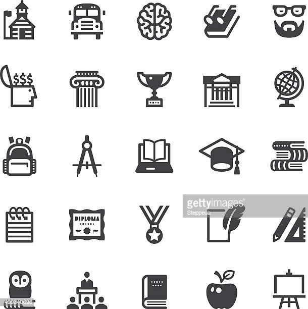 education icons - black series - classical greek style stock illustrations