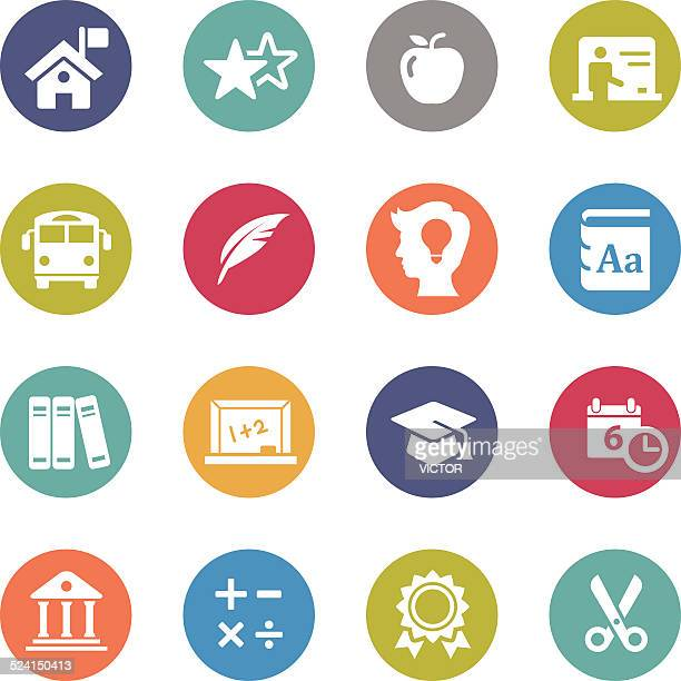 education icons - circle series - report card stock illustrations