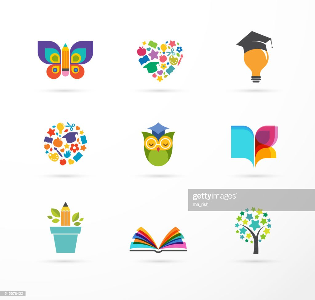 Education icons, elements set. Book, student hat, owl