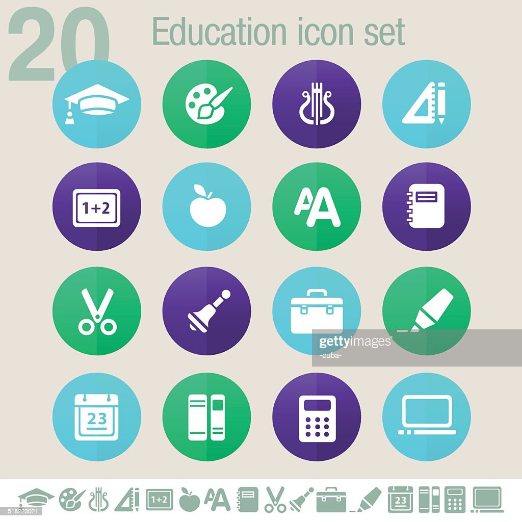 Education icons | Flat circles