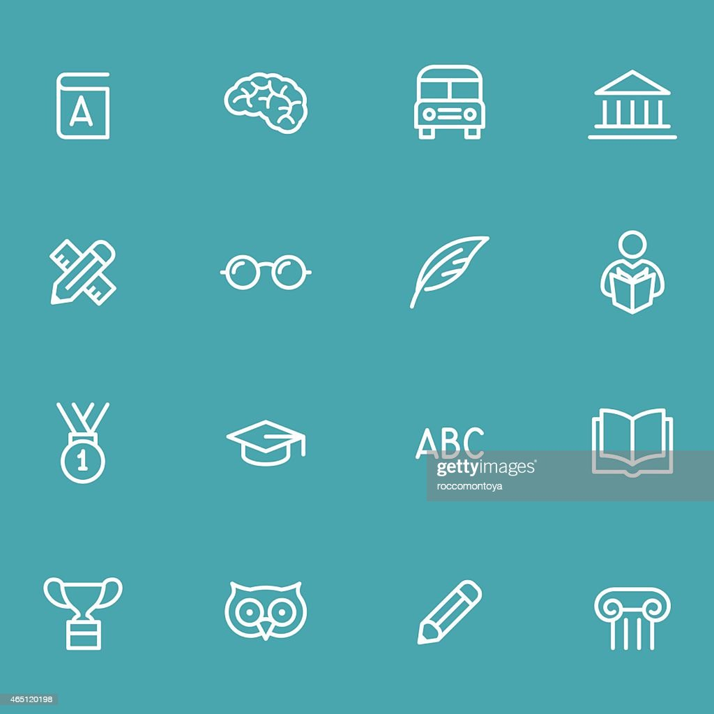 Education icons four by four with blue background