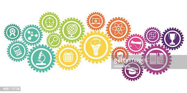 Education icons in cog wheel
