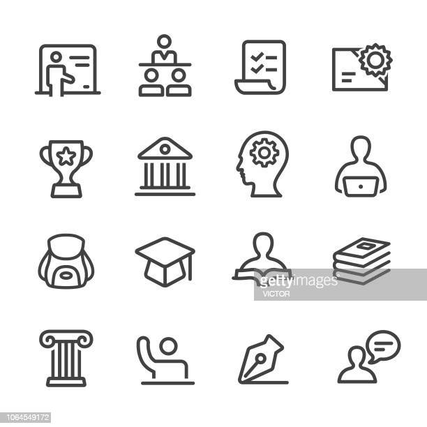 education icons - line series - column stock illustrations