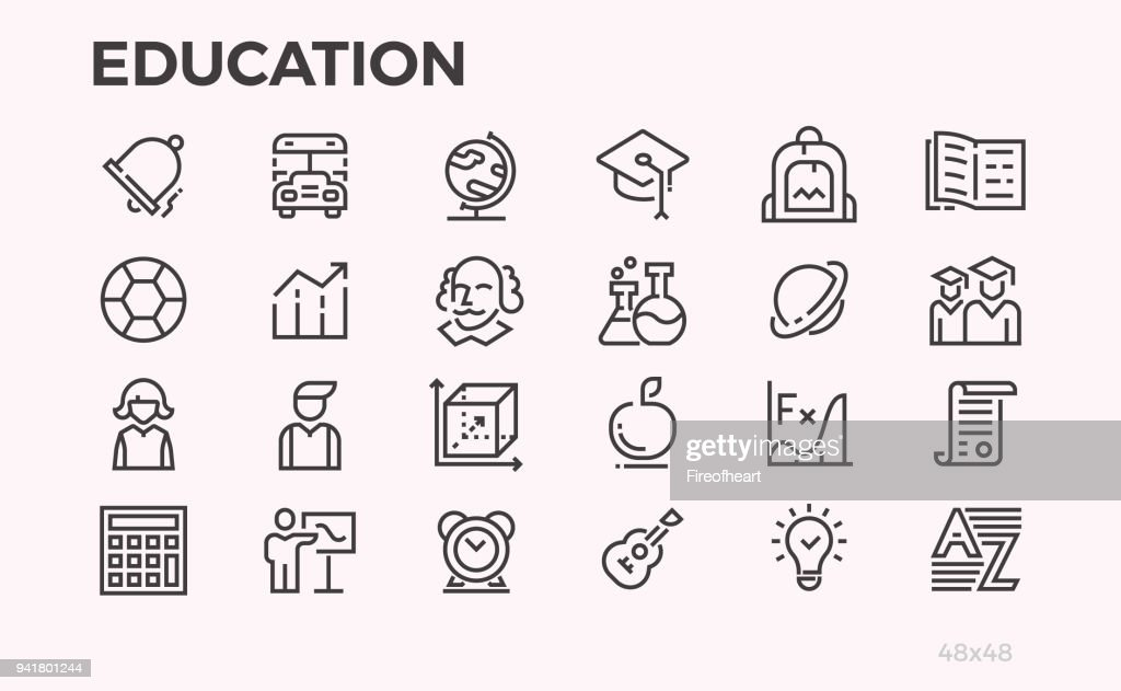 Education icons. School curriculum and equipment, teachers and students and other symbols. Editable line.